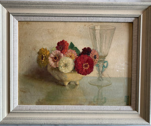 Oil painting on board: Zinnias in cream dish with a glass (artist Frederick Boyd Waters 1879-1967)