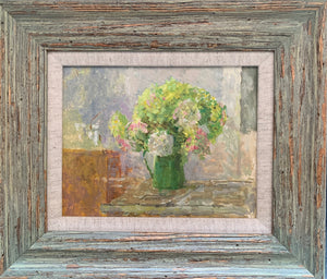 Oil painting on board: Hydrangeas in a green jug (by Fred Duberry RA, 1926-2011, unsigned)