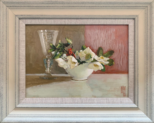 Oil painting on board: Heliobores, holly and a glass (Artist Frederick Boyd Waters)