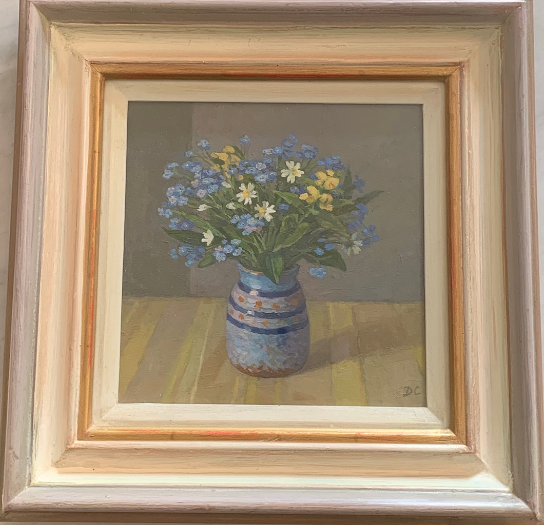Oil painting on board: Forget-me-nots in earthenware jar (artist initials