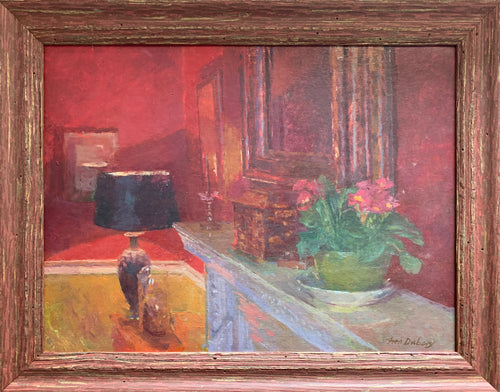 Oil painting on board: Primroses on a mantlepiece (artist Fred Dubery RA 1926-2011)
