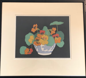 Colour woodcut signed print: Nasturtiums (artist John Hall Thorpe, 1922)