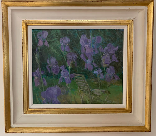 Oil painting on board: Irises (artist Fred Dubery RA 1926-2011)