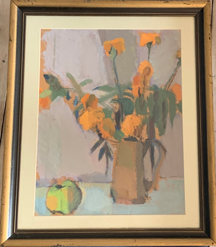 Oil painting on board: Orange flowers and an apple (Scottish School, unsigned)