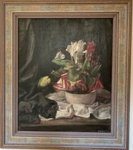 Oil painting on board: Cyclamens (artist George Weissbort 1952)
