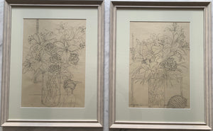 Pair of pencil on paper drawings: Lilies and carnations (artist Joanne Brogden RA 1929-2013