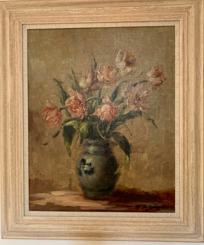 Oil painting on canvas: Pink tulips in a blue and white jug (indistinctly signed)