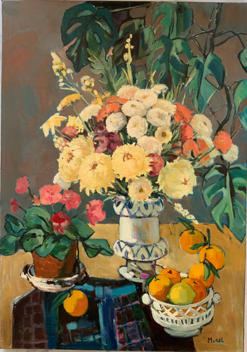 Oil painting on canvas: Still life of fruit and flowers on tabletop (Morel)
