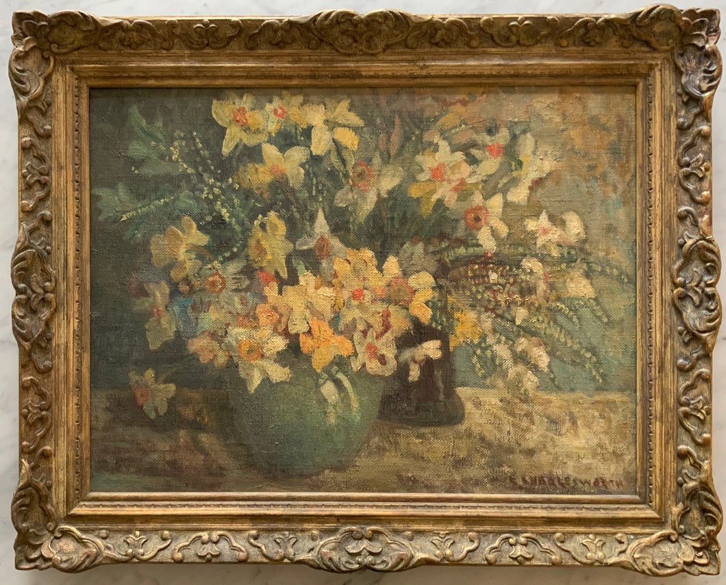 Oil painting on canvas: Daffodils (E. Charlesworth)