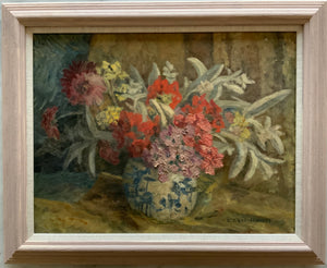 Oil painting on canvas: Summer flowers in blue and white vase (E. Charlesworth)