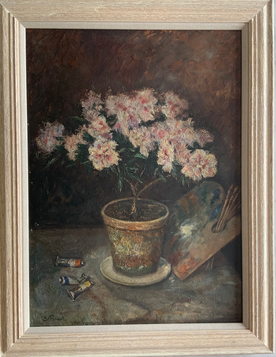 Oil painting on canvas: Pink flowers and palette (artist Georges Stimart, 1886-1952)