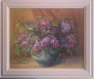 Oil painting on canvas: Lilacs (artist J Rousset Thoury)