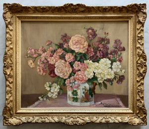 Oil painting on canvas: Pink flowers in Oriental vase (Florence Fieldhouse, 1895-1974)