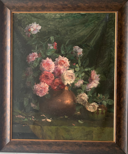 Oil painting on canvas: Red and pink roses in a copper pot (artist Eugene Bertrand)