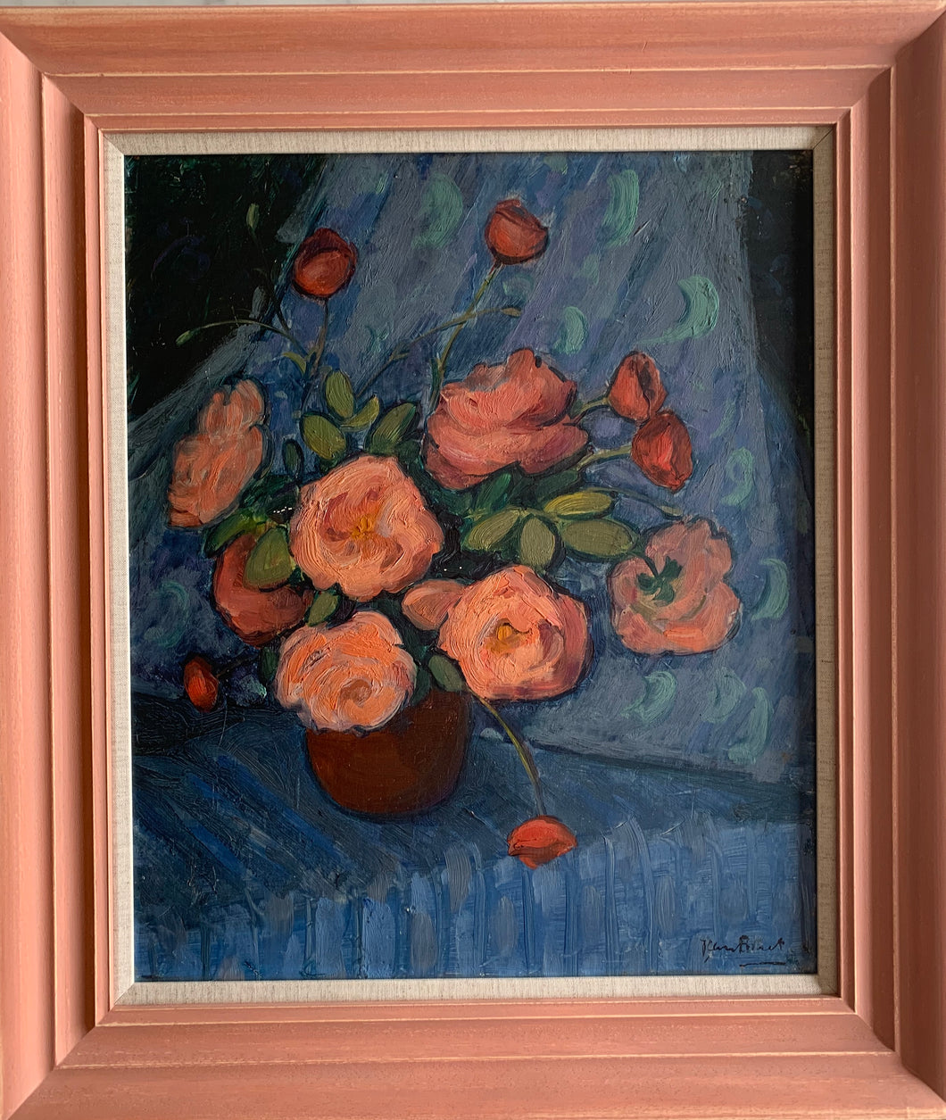 Oil painting on board: Orange roses (artist Jean Bonet)