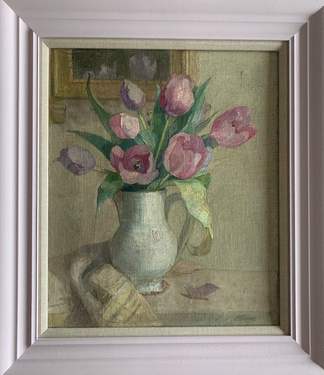 Oil painting on canvas : Pink tulips (unsigned)