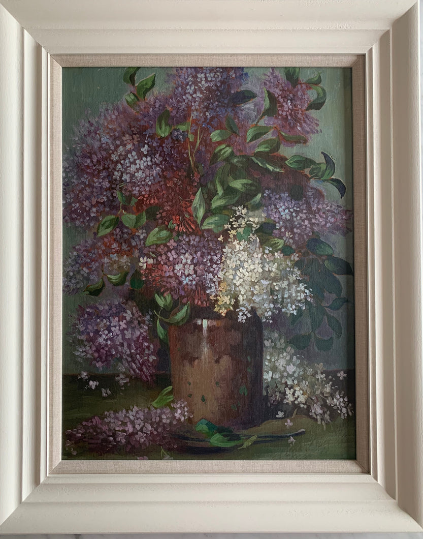 Oil painting on board: Lilacs in a brown pot (unsigned)