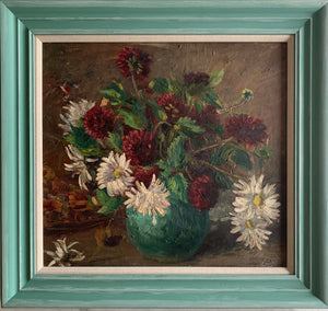 Oil painting on board: Red and White dahlias in a turquoise vase (signature indistinct)