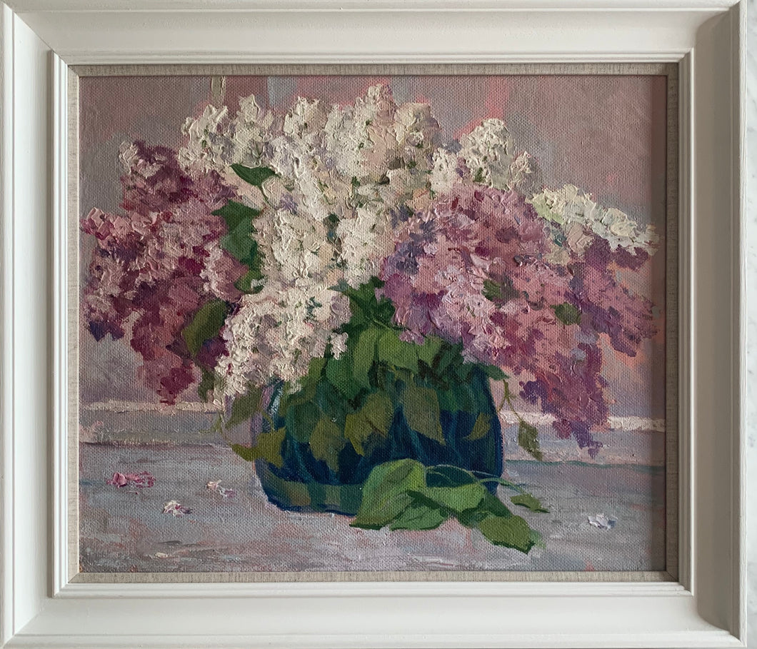 Oil painting on board: Lilacs (Anatoli Maryanovich Vaskevich, Ukranian b 1936)