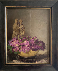 Oil painting on board: Violets and figures (signature indistinct)