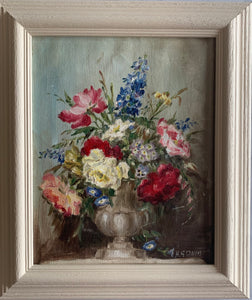 Oil painting on board: Roses and delphiniums in an urn (artist H G Davis)