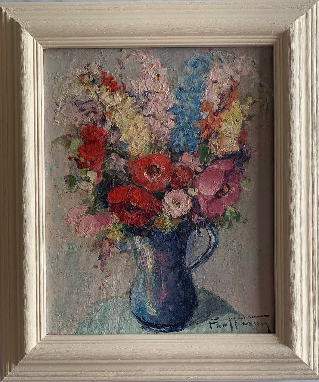 Oil painting on canvas: Exuberant summer display in a blue jug (indistinct signature)