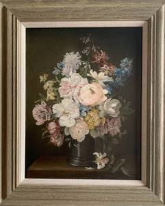 Oil painting on canvas: Summer flowers in a pewter jug (artist Edna Bizon b. 1929)