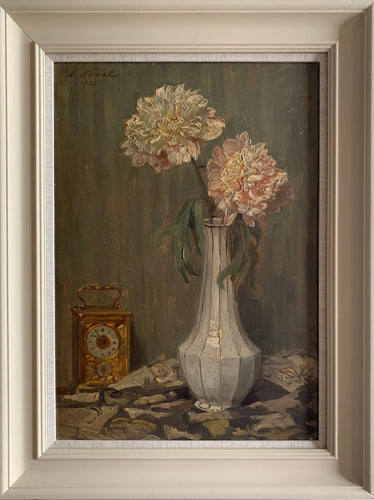 Oil painting on board: Pink chrysanthemums in a vase with clock (artist Anton Nowak (1865-1931, painted 1921)