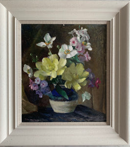 Oil painting on board: Spring flowers in a vase (artist Colin Campbell)