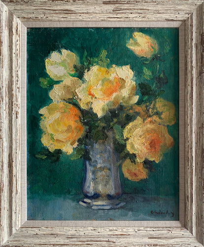 Oil painting on canvas: Yellow roses in a silver tankard (signature indistinct)