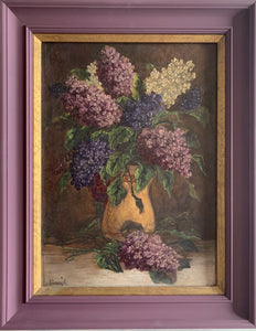 Oil painting on board: Lilacs (artist K Kovary)