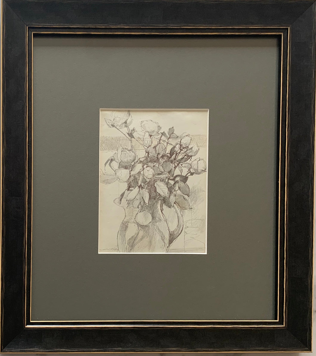 Pencil drawing on paper: A jug if flowers (artist Tom Carr)