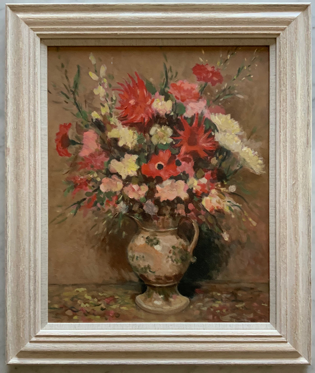 Oil painting on board: Still life of flowers in decorative jug (unsigned)
