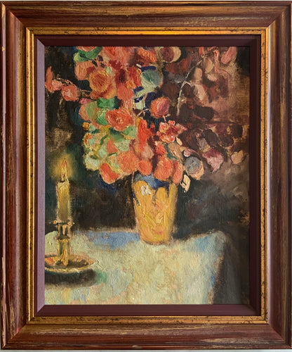 Oil painting on board: Flowers and a candle (unsigned)