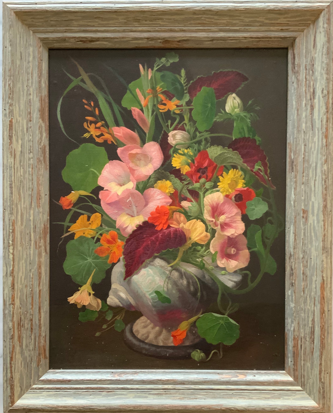 Oil painting on board: Still life of flowers in a conch shell (John E. Nichollas)
