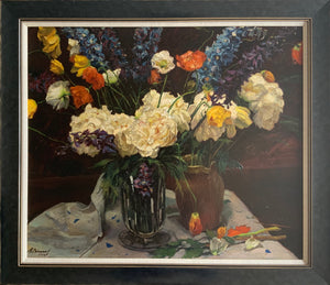 Oil painting on board: Peonies, delphiniums and poppies in a glass vase (Russian School 1926)