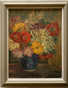 Oil painting on canvas: Autumn flowers (E. Charlesworth)