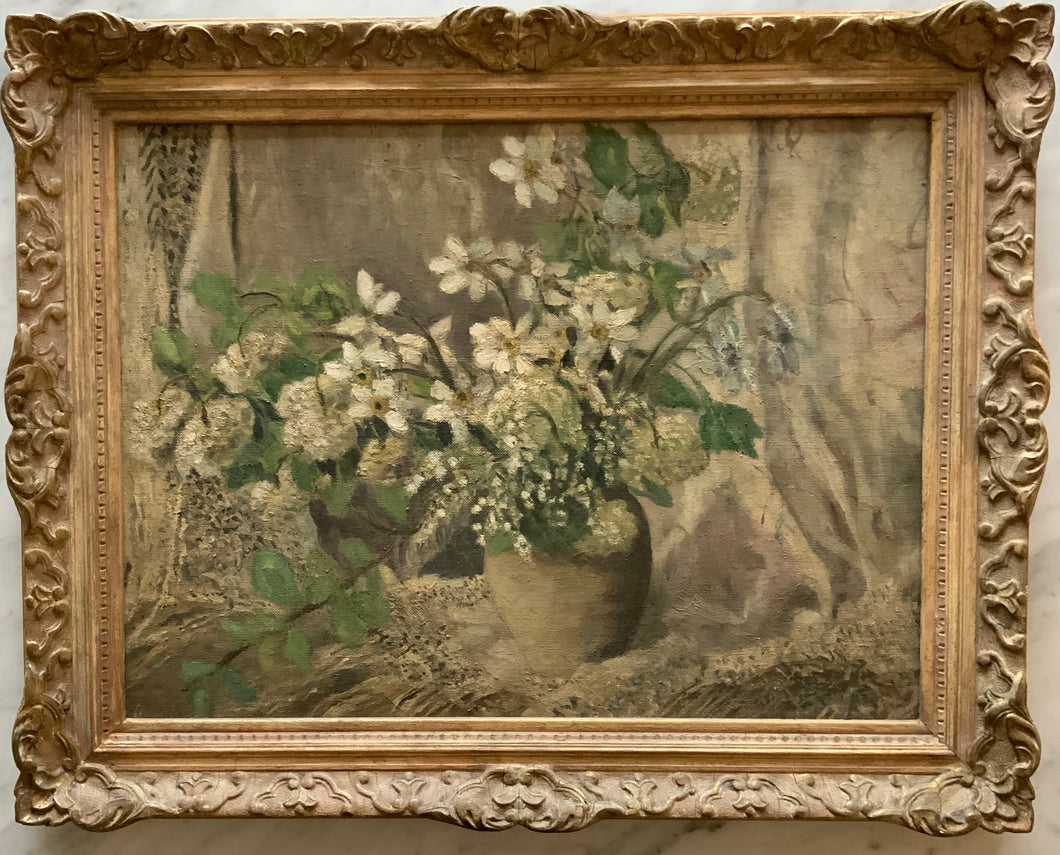 Oil painting on canvas: White spring flowers (E. Charlesworth)