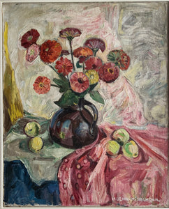 Oil painting on canvas: Zinnias and apples (artist M Dehn Misselhorn)