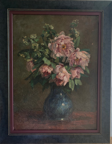 Oil painting  on canvas: Pink roses in a blue vase (French)