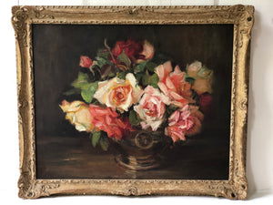 Oil painting on canvas: Pink roses (artist: Kate Wyllie 1877-1941)