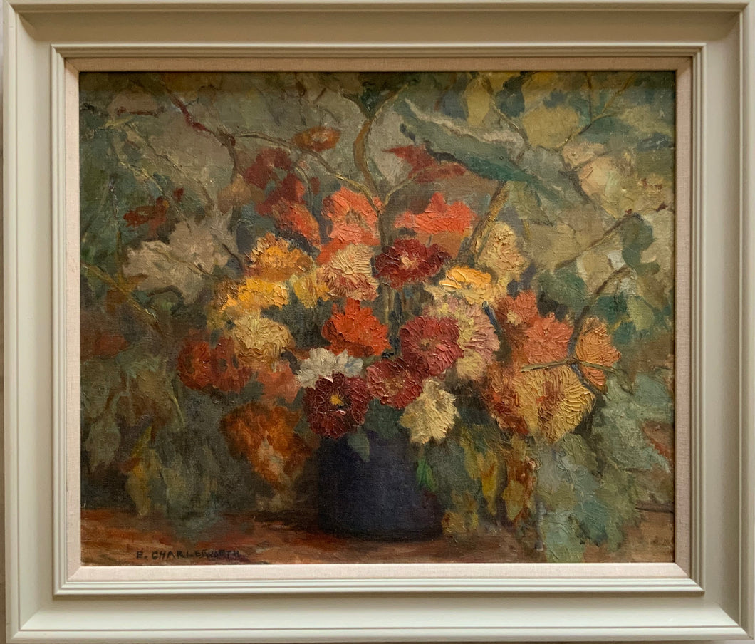 Oil painting on canvas: Dahlias (E. Charlesworth)