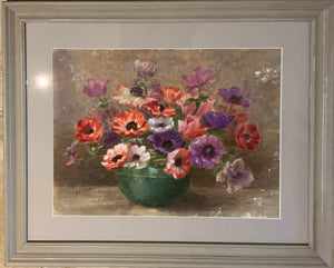 Watercolour on paper: Anemones in green bowl (R.A. Foster)