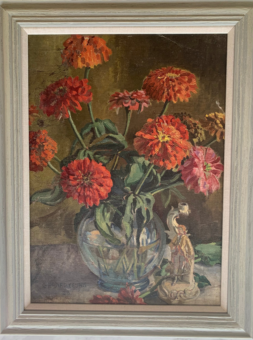 Oil painting on canvas: Red and orange zinnias in a glass bowl (artist Gerard Ceunis, 1928)