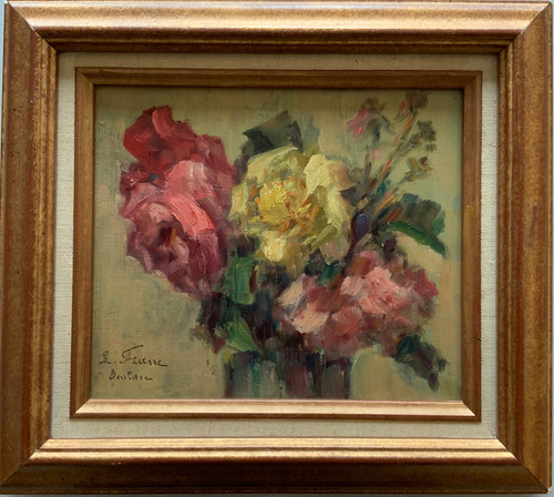 Oil panting on board: Pink and yellow roses (L. Franc)
