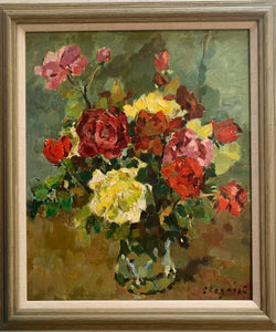 Oil painting on canvas: Roses in a glass vase (French, indistinctly signed)