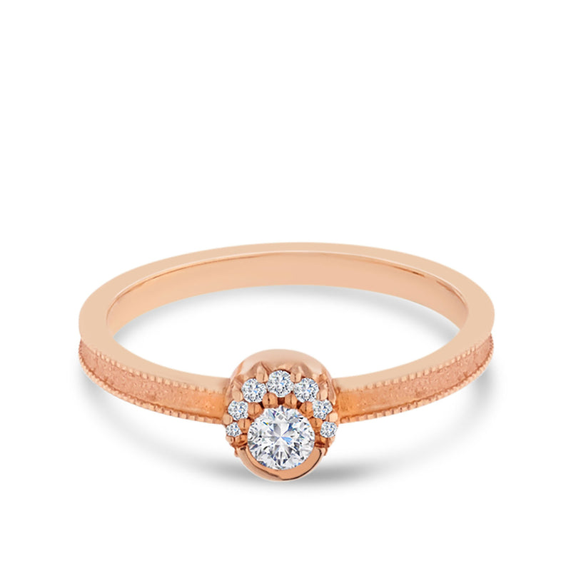 Diamond Milgrain Ring in 14K Rose Gold
