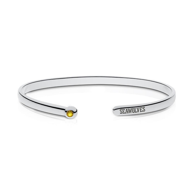Seawolves Engraved Yellow Sapphire Cuff Bracelet Size XL