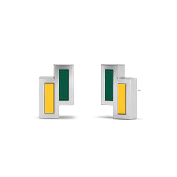 Asymmetric Enamel Stud Earrings in Green and Yellow