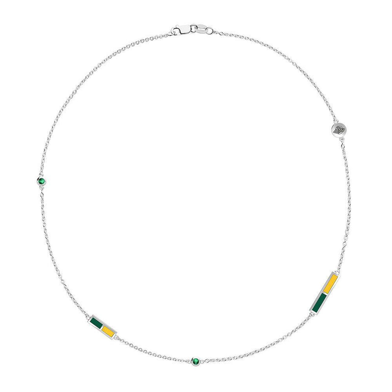 Seawolves Logo Engraved Emerald 5-Station Necklace in Green and Yellow Size 21
